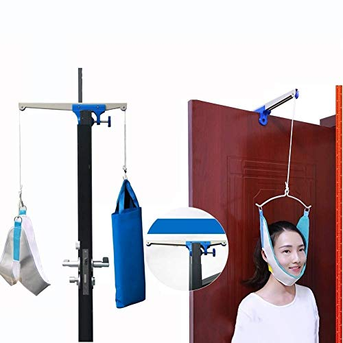 Overhead Traction - ZENGZHIJIE Neck Cervical Traction Device Unit Kit Home Over Door Neck Spinal Decompression Devices Orthopedic Traction Overhead Brace Machine Physical Therapy Set Pain Relief