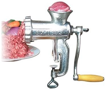 Meat Grinder with Tabletop Clamp- Cast Iron Meat Mincer and Sausage Maker Includes 3 Cutting Disks (Meat Grinder Clamp)