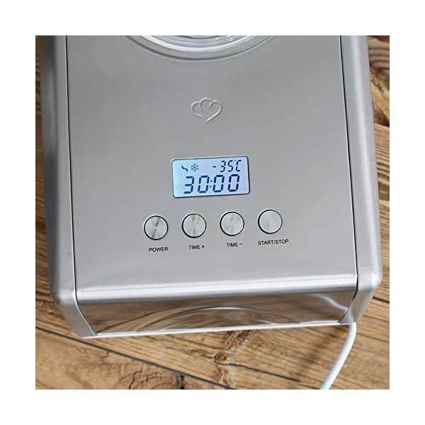 Gelatiera EMMA con Compressore Autorefrigerante 150W, 1.5L, Macchina per Gelato e Sorbetti in Acciaio inox con… 4 spesavip