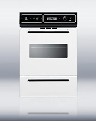 "Summit WTM7212KW 24"" White Gas Single Wall Oven"