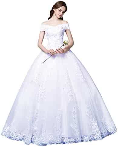 5614596e2dd3d Okaybrial Women's Beach Wedding Dress Off Shoulder Appliques Beading Ball Gown  Bride Dress