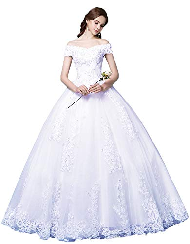 - Okaybrial Women's Beach Wedding Dress Off Shoulder Appliques Beading Ball Gown Bride Dress White