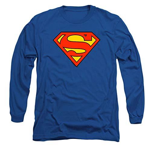 Superman Classic Logo Long Sleeve T-Shirt & Stickers (X-Large) Royal Blue