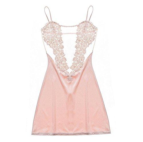 Sra. Pijama de verano honda de la ropa interior pijamas sin mangas de encaje transparente , 170 (xl) , pink