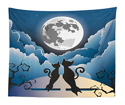 Lunarable Halloween Cat Tapestry King Size, Cartoon Style Kitties Watching The Full Moon on Hill Through Cloudy Night Sky, Wall Hanging Bedspread Bed Cover Wall Decor, 104