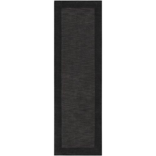 Mystique Charcoal Rug (Surya Mystique M-347 Transitional Hand Loomed 100% Wool Jet Black 2'6