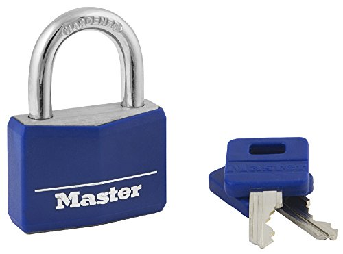 Master Lock Padlock, Covered Aluminum Lock, 1-9/16 in. Wide, Blue, 142DCM ()