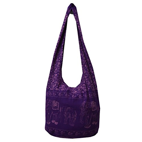 Hippie Elephant Sling Crossbody Bag Color Violet and Screen Light Violet Elephant
