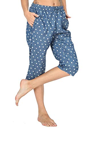 WEWINK CUKOO Soft Denim Cotton Women Pajama Capri Lounge Pants with Pockets