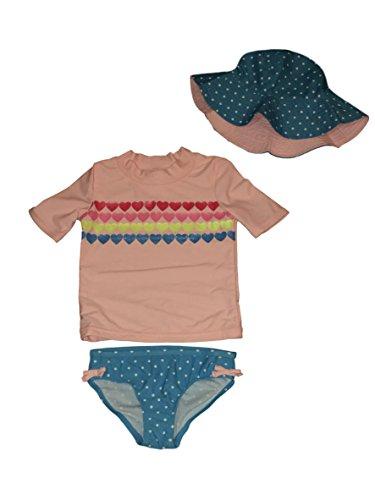 Pink Dot Tankini (William Carter Co. Carters Little Girls 3 Pc Swim Set Ruffle Bottom, Tankini Top, Reversible Hat (Pink Glitter Hearts Blue Polka Dots, 6/6X))