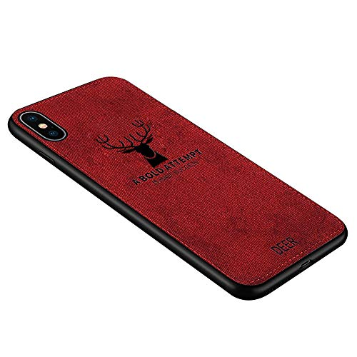Phone case,Cloth Textured Mobile Phone TPU Case Shockproof Back for iPXs Max Mobile Phone (Red)