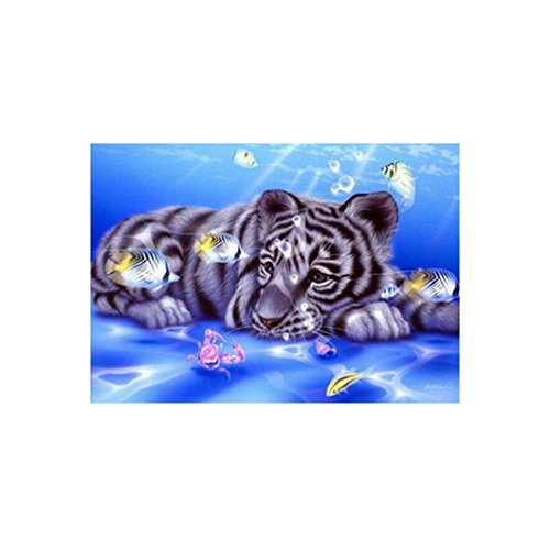 Wall Decor,RNTOP_Home Decor 5D Tiger Fish DIY Diamond Painting Embroidery Cross Craft Stitch Home Decor Art Wall Sticker For Wall (multicolored) Heart Plastic Canvas Pattern