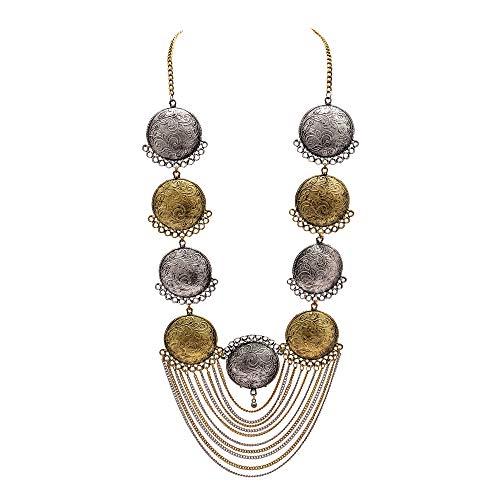 Zephyrr Afghani Style Gold Tone German Silver Pendant Necklace Oxidized JAN-1756 -