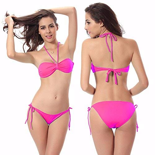 coloré Bikini gorge Medium Bikinis Jaune Soutien De Three Bain Oudan Rouge solid Rose Taille Point Maillot wRUvt1q1