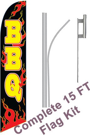 NEOPlex - BBQ Flames Black/Yellow Complete Flag Kit - Includes 12 Swooper Feather Business Flag With 15-foot Anodized Aluminum Flagpole AND Ground Spike