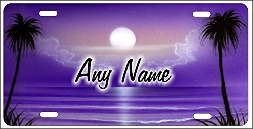 ATD Personalized Airbrushed Purple Beach Scene Novelty License Plate Custom Decorative Airbrush Front Plate
