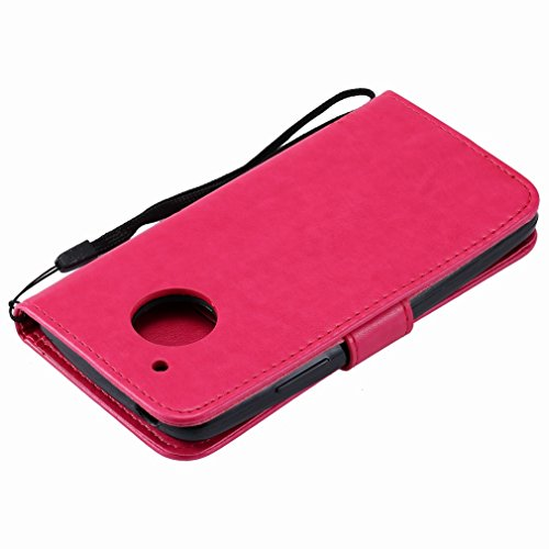 Yiizy Motorola Moto G5 Custodia Cover, Alberi Disegno Design Premium PU Leather Slim Flip Wallet Cover Bumper Protective Shell Pouch with Media Kickstand Card Slots (Red Rose)