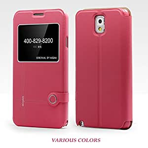 SHENGAA Leather Pouch Slim Fit Side Flip Back Case Cover For Samsung Galaxy Note 3 N9000 Hotpink