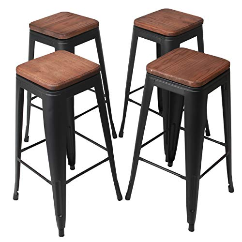 wivel Metal Barstools Dining Chair Kitchen Counter Height Stool Cafe Side Chairs with Wood Seat 30