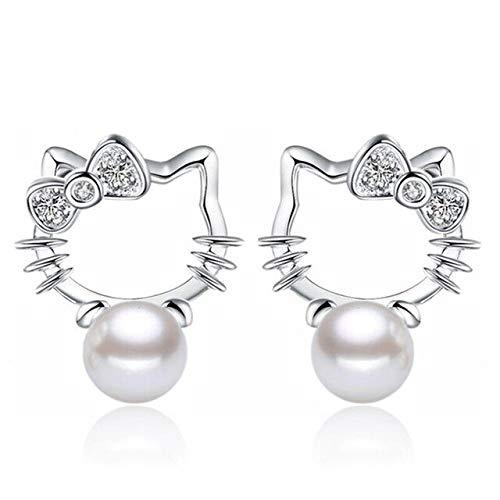 Hello Kitty Cute Pearl Zircon Silver Earrings