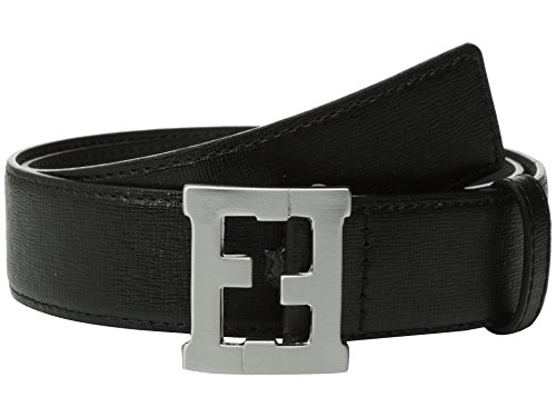 [Fendi Kids Baby Boy's Logo Buckle Leather Belt (Toddler/Little Kids/Big Kids) Black Belt] (Fendi Logo Buckle Belt)