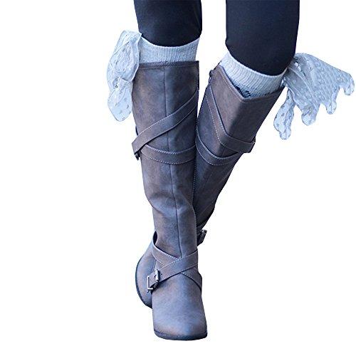 Syktkmx Womens Winter Knee High Boots Riding Chunky Mid Heel Cross Strap Fall Dress Boots