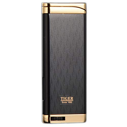 - Refillable Blue Flame Adjustable Ultra-Thin Butane Viewable Windproof Cigar Cigarette Lighter Black/Gold