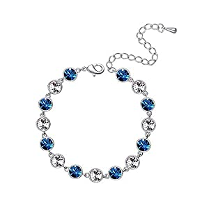 L&S, Fashion Design, Rhodium Plated Bracelet with Crystal for Women, Girls