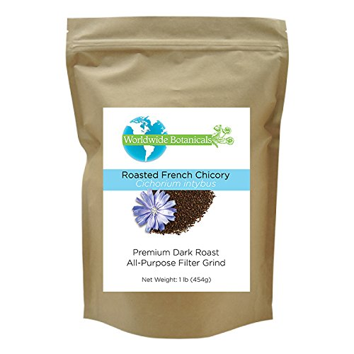French Chicory Utterly (Coffee Substitute), Dark Roast, All-Purpose Filter Grind, Caffeine Free, Acid Free, Worldwide Botanicals 1 lb.(454g)