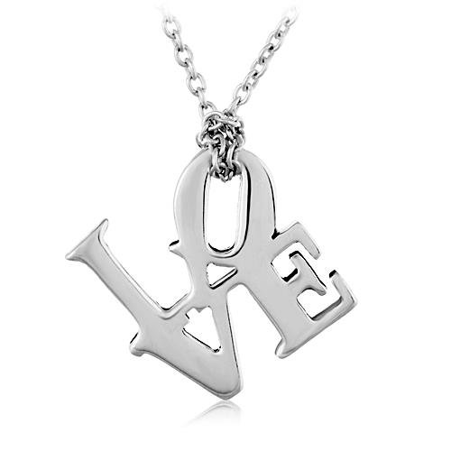 Sterling Silver Love Word Girlfriend Spouse Or Daughter Pendant Necklace