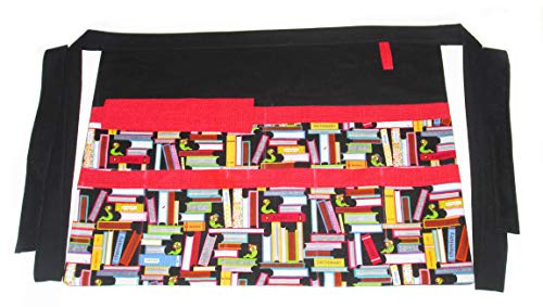 DesignsByDowning Half Pockets Apron Suitable for Vendor, Teacher, Barista, Realtor, Farmers Market, Trade Show (Multi Books)