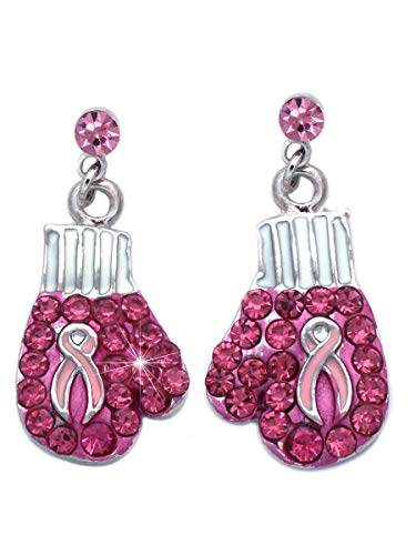 Support Breast Cancer Awareness Pink Ribbon Boxing Glove Heart Earrings (Glove Pink Dot) -
