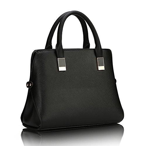 New Fashion Women's Designed Handbag Top Handle Satchel Leather Shoulder Boston Srtle Bags Black (Messenger Bag Boston)