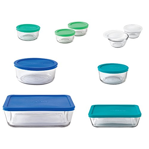 Anchor Hocking 11046AHG17 20-Piece Storage Set with Mixed Blue Lids Anchor Hocking Green Glassware
