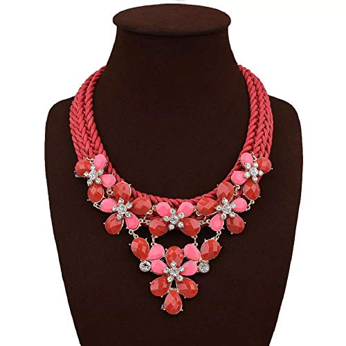 Cyan Long Chunky Crystal Statement Necklaces for Women Party Girls Choker Flower Jewelry (Red)