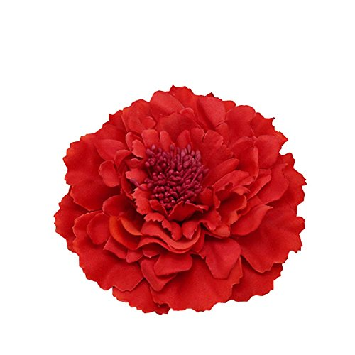 - Kewl Fashion Women's Bohemia Peony Flowers Hairpin Hair Clip Flower Brooch (Red #1)