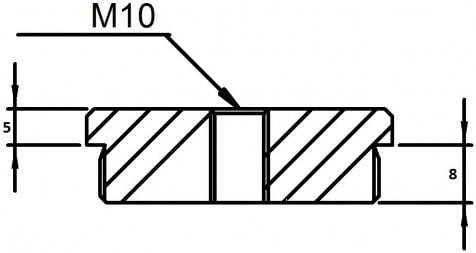 Endkappe flach mit M10 Innengewinde f/ür Rohr /ø 42,4 x 3,0mm massiv zum Einschlagen