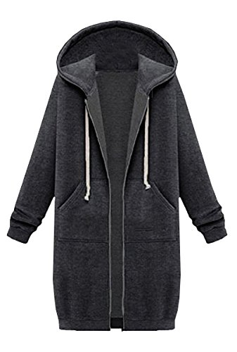 Felpa Tasca Full Zip Long Women Con Dark Blackmyth Coat Grey Pollovers Outwear Casual Giacche Cappuccio CSqwaXx