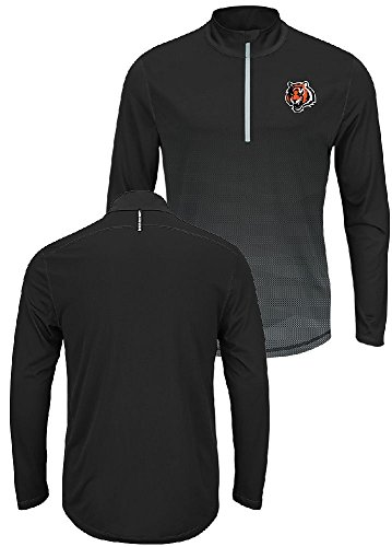 Majestic Cincinnati Bengals Intimidating Half Zip Pullover Synthetic Windshirt (X-Large) ()
