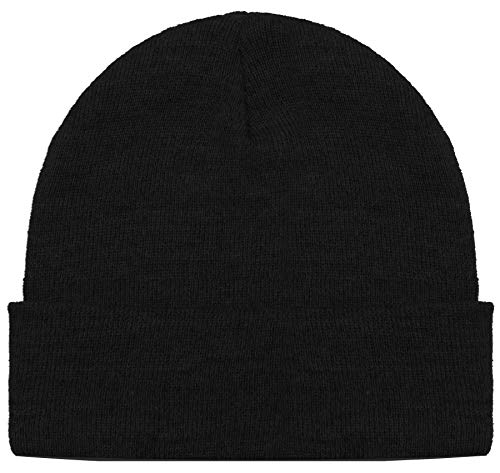 Blueberry Uniforms Black Merino Wool Beanie Hat -Soft Winter and Activewear Watch Cap