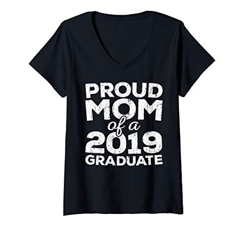 Womens Proud Mom Of A 2019 Graduate T-Shirt Senior Class Graduation V-Neck T-Shirt