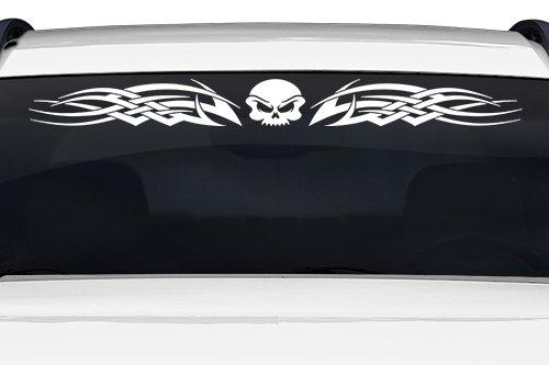 (Sticky Creations - Design #128-02 Skull Tribal Flame Windshield Decal Sticker Vinyl Graphic Rear Window Banner Tailgate Car Truck SUV Van Go Cart Boat Trailer   36