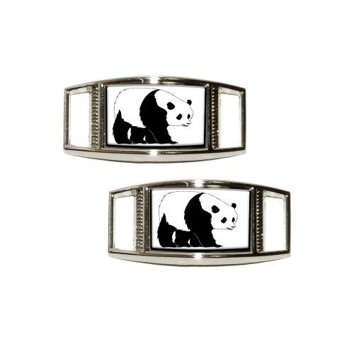 Panda Bear Shoe Sneaker Shoelace Charm Rectangular Decoration - Set of 2