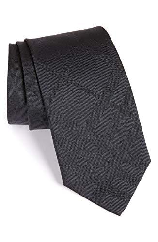 Burberry London Men's Clinton Charcoal Tonal Silk Plaid Neck Tie