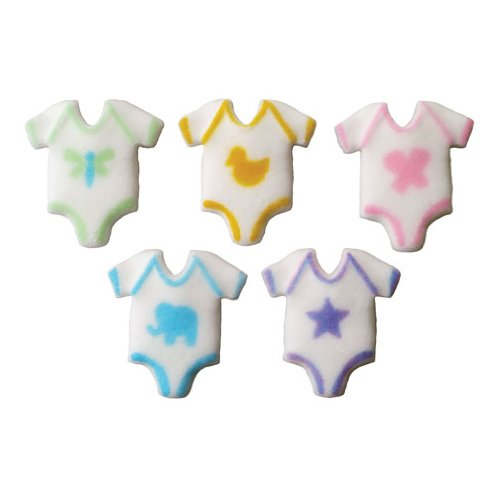 Lucks Dec-Ons Decorations Molded Sugar/Cup-Cake Topper, Baby Onepiece Assortment, 1.5 Inch, 70 Count