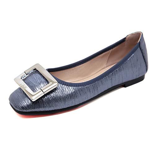 Plates Femmes Et Bleu Hrcxue À Talon Bout Tête Chaussures Carrée Plat Rond S811qdI