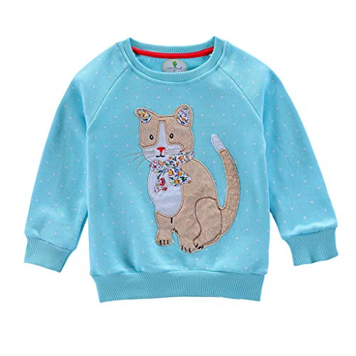 Baby Tops For Children Baby Kid Girl Boy Embroidery Animal Rabbit Alpaca Cat Sweatshirt Clothes Children's Long-Sleeved Cartoon Coat For Toddler Baby Girl Kid Outwear Homewear Girl (2-3Y, Blue)