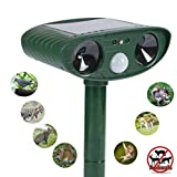 Ultrasonic Animal Repeller,Solar Ultrasonic Electronic Animal Pest Repeller,with Flash Light and Warning Sound Effective Outdoor Waterproof Farm Garden Yard Use,expel Dogs,Skunks,Foxes,Bears,Rod,etc.