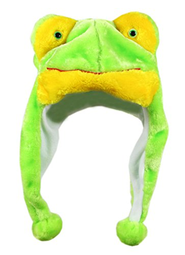 Bioterti Plush Fun Animal Hats –One Size Cap - 100% Polyester with Fleece Lining (Frog) ()