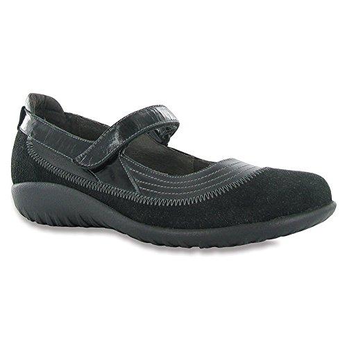 Naot Chaussures Des Femmes De Mary Jane Kirei Madras Blk Plat / Blk Suède / Blk Pat